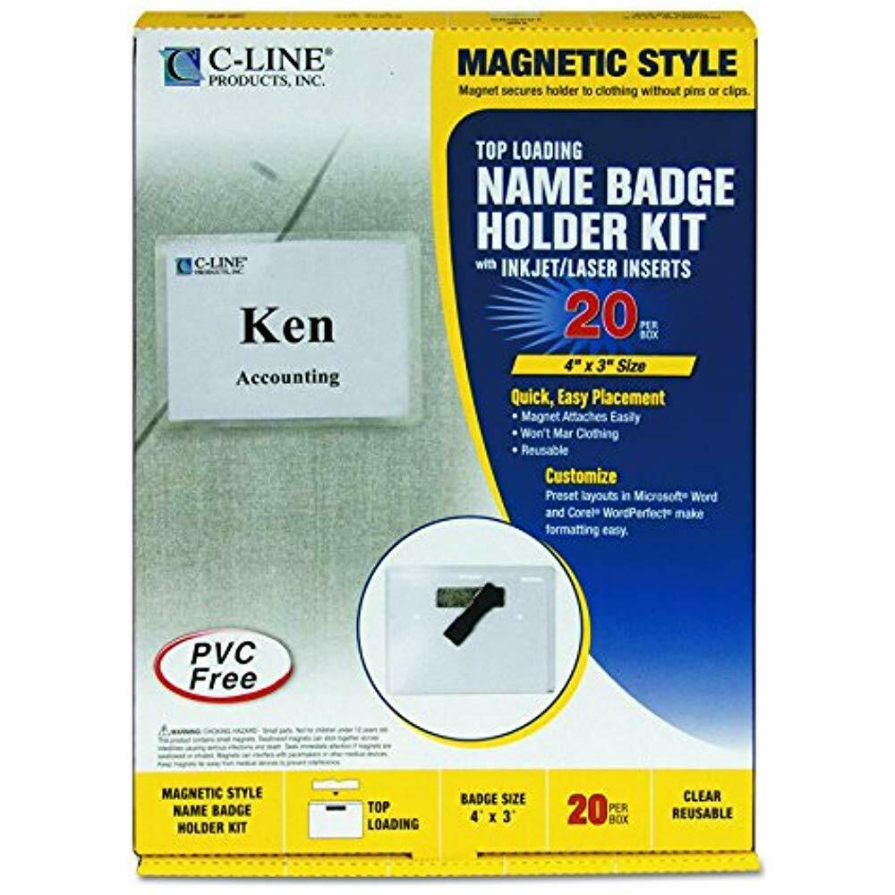 SALE C-Line Magnetic Style Name Badge Kit, 4 X 3 Inches, Box Of 20 (92943) Tags