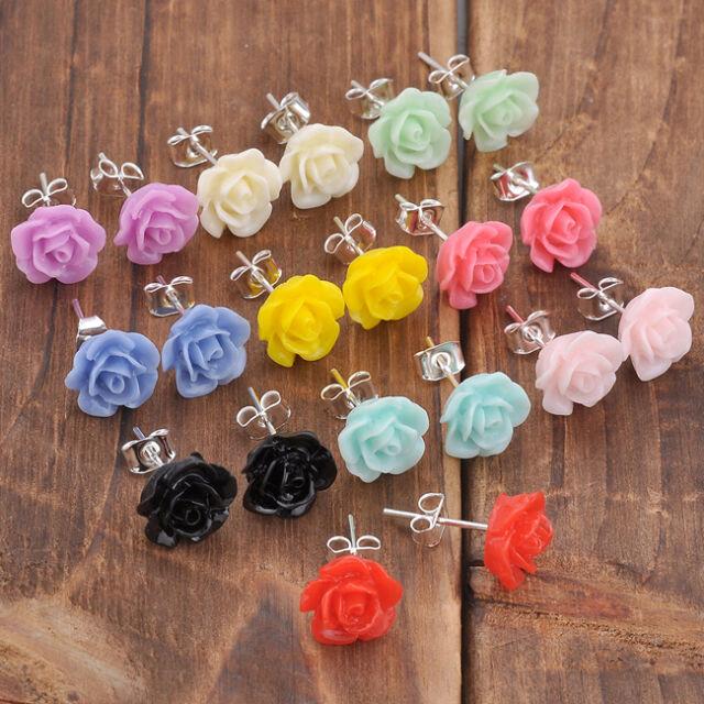 2x Candy Colour Crystal Resin Rose Flower Earrings Ear Stud Women Jewellery Gift