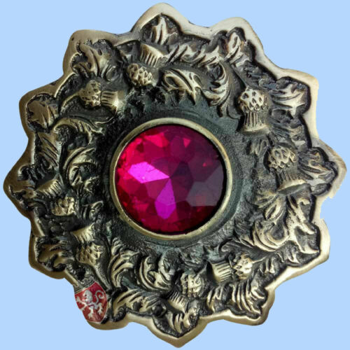 """Kilt Fly Plaid Brooch  4/"""" Celtic Pin  Antique with Various Stone Colors"""