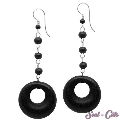 1 Paar Ohrringe Holz schwarz Kugeln Kreise Ohrhänger Holzringe Damen Mädchen