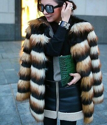 Chic Women Hairy Shaggy Faux Fox Fur Round Neck Contrast Color Jackets Long Coat