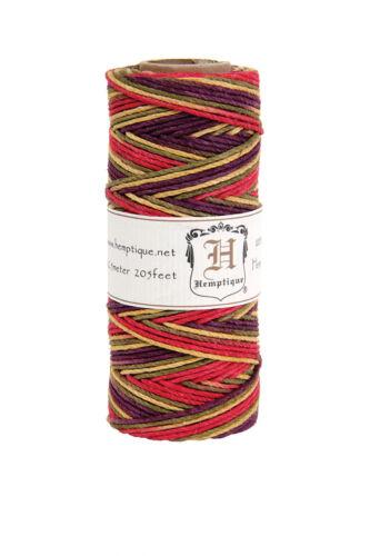 Hemptique 20lb cáñamo 100/% abigarrada Crafters Cable Carrete de 62.5m 50g