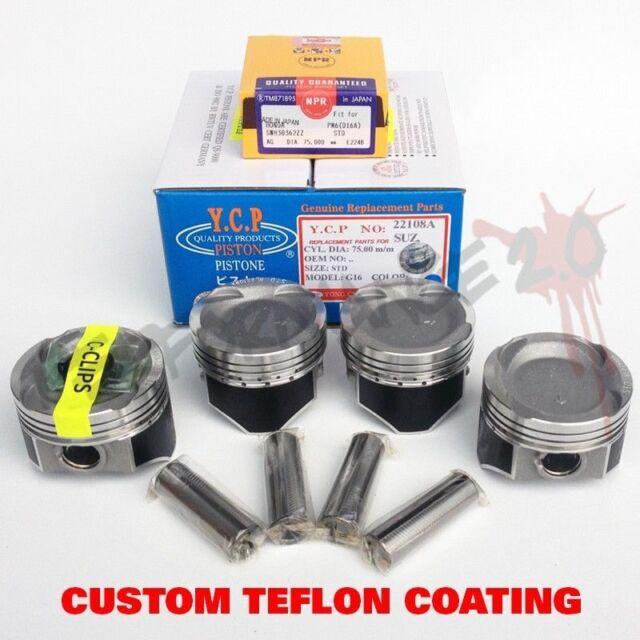 75mm D16 YCP Vitara TURBO Pistons & NPR Rings TEFLON COATED Honda Civic CRX JDM