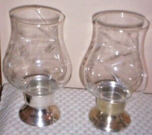 Image is loading Vintage-Silver-Plate-Candle-Holders-with-Hand-Blown- & Vintage Silver-Plate Candle Holders with Hand-Blown Etched Globes | eBay
