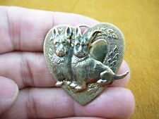 (#B-DOG-301)  Scottish terrier two dogs pin brass HEART brooch Scottie dog