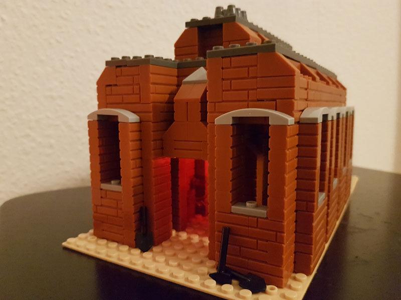 Brique usine avec éclairage DEL Lumière Scintillement Maison MOC sans personnage chemin de fer