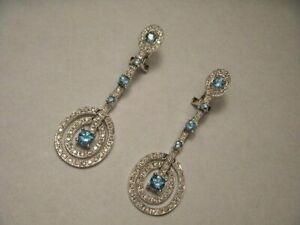 White-amp-Aquamarine-Diamond-Art-Deco-Unique-Earrings-14K-White-Gold-FN-925-Silver