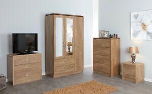 New Oak Bedroom Furniture Units Large Wardrobe Dressing Table Desk Set Ebay