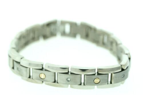 "Titanium & 14K Gold Screws 12mm with .25ctw Genuine Diamonds Bracelet 8.25"""