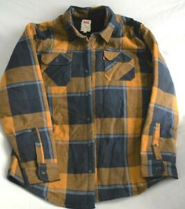 c2e79ad942 Levi s Men s Sherpa Lined Flannel Plaid Long Sleeve Shirt Navy Gold ...