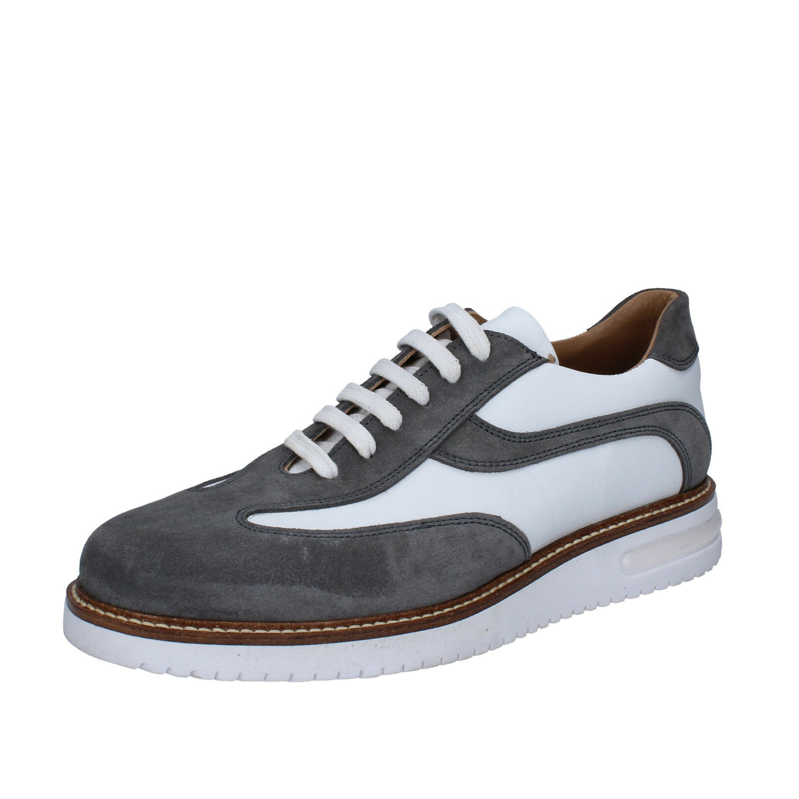 finest selection d92e2 47b14 FDF SHOES SHOES SHOES 41 EU classiche bianco grigio pelle camoscio BZ385-C  7e4902