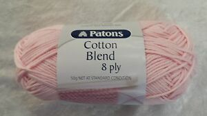 Patons-Cotton-Blend-8-Ply-15-Baby-Pink-Cotton-Acrylic-50g