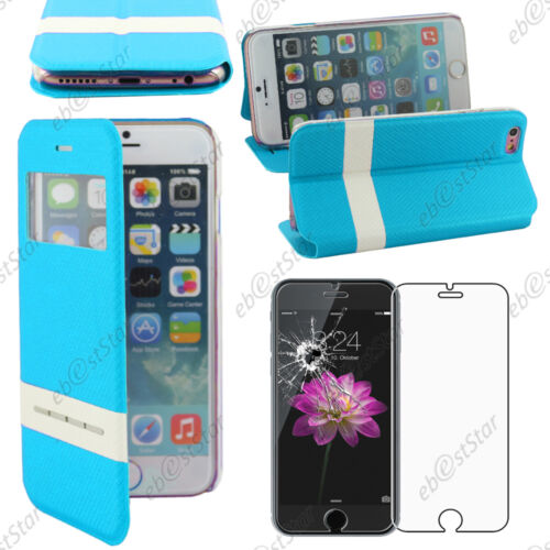 "Housse Coque Etui S-View Flip Cover Bleu Apple iPhone 6S Plus 5,5/"" Verre"