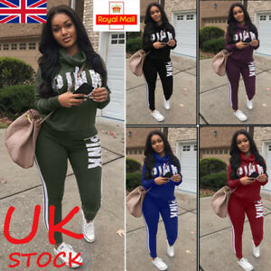 9d8f865e11be0 UK Women 2PCS Tracksuits Striped Sport Lounge Wear Ladies Tops Suit ...