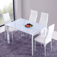 4 White Modern Dining Chairs Room Chair Table Faux Leather Side Furniture