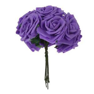 Deep-Purple-Artificial-Foam-Rose-10x-PE-Floral-Flowers-Bridal-Wedding-Decor-M2K6