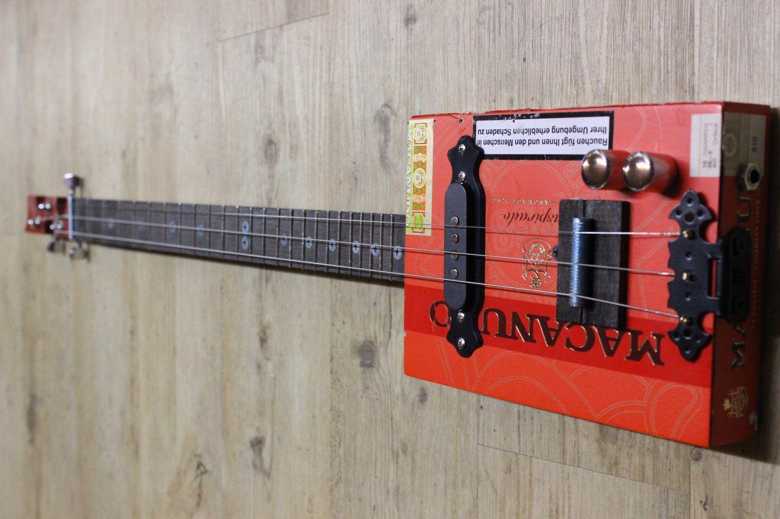 Zigarren Box Gitarre EDEL-Bausatz 3saitig elektrisch/akustisch ohne Gitarrenhals