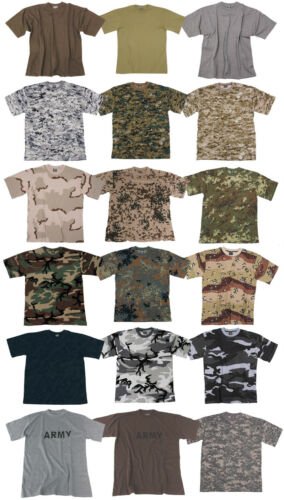 CLASSIC MENS ARMY CAMO TSHIRT MILITARY COMBAT TACTICAL FIELD PATROL COTTON TEE