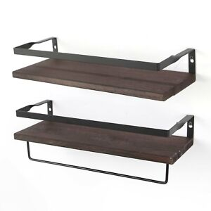 2pcs Rustic Industrial Pipe Wall Floating Shelf Wooden Storage Shelving Unit