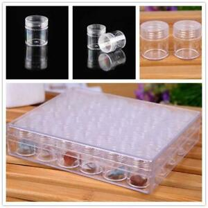 30pcs Clear Plastic Jewelry Bead Storage Small Round Container Jars with Box