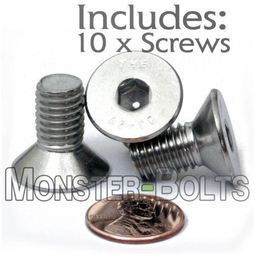 DIN 7991 Stainless Steel FLAT HEAD Socket Cap Screws M10-1.5 x 20mm Qty 10