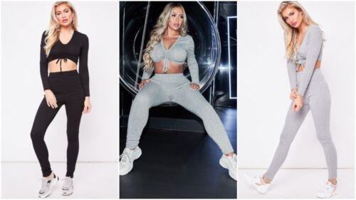 Ladies Co ord Ruched Crop Top Bottoms Set Womens 2pcs Loungewear Suit Tracksuit