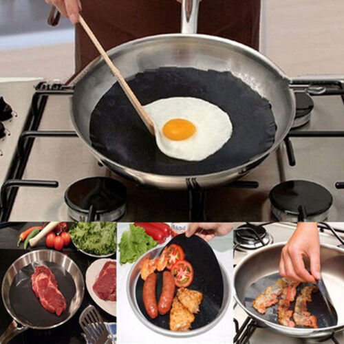 Black Heat Resistant Non-stick Frying Pan Round Mat For Kitchen Barbecue Cooking