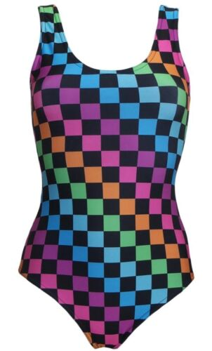 Rainbow Multi Check Squares Checkerboard Check Printed Swimsuit Bodysuit