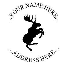 Moose New Custom Return Business Address Round Self Inking Rubber Stamp