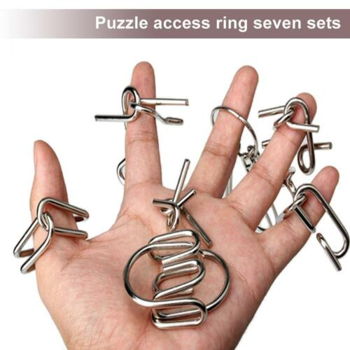 7 Sets IQ Test Toy Mind Game Brain Teaser Metal Wire Puzzles Magic Trick Gift MT