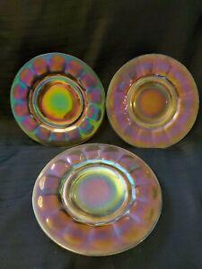 Set-of-3-Fenton-Art-Glass-Stretch-Glass-Iridescent-Carnival-Art-Deco-Plates