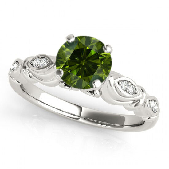 0.41 Ct Fancy Green Diamond SI2 Solitaire Wedding Ring Stunning 14k White gold