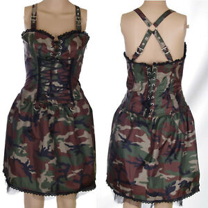 CAMOUFLAGE-STRAPPY-COTTON-BASQUE-DRESS-BUCKLES-ALTERNATIVE-GOTH