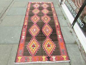 Kilim-Old-Traditional-Handmade-Persian-Oriental-Brown-Pink-Wool-Kilim-272x108cm