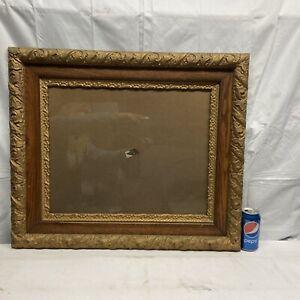 Vtg Antique Victorian Oak ORNATE Gold Painted Wood Frame Paint By Number Back?