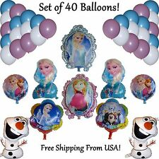 40 pc FROZEN Balloon Set PRINCESS ELSA~ANNA~OLAF Birthday Party Globo Cumpleanos