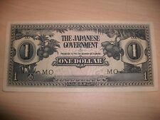 Japanese government one dollar this note with block letters MO w/serial #. UNC