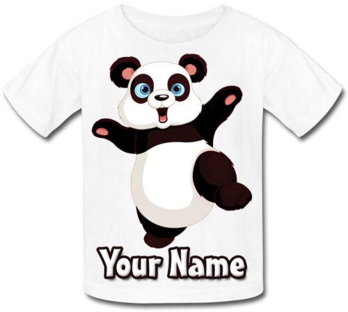 Panda personnalisé bébé T-Shirt-Beau Cadeau Pour Tout Enfant /& nommé trop