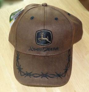 80f95f63b25 John Deere Men s Oilskin Barbwire Adjustable Cap - Brown - New with ...