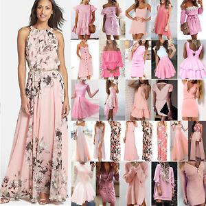 Rosa-Kleider-Damen-Minikleid-Lang-Boho-Sommer-Kleid-Strand-Party-Abend-Cocktail