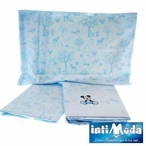 Details zu Completo Lenzuola Lettino Culla Disney Caleffi Topolino Azzurro  Puro Cotone 100%