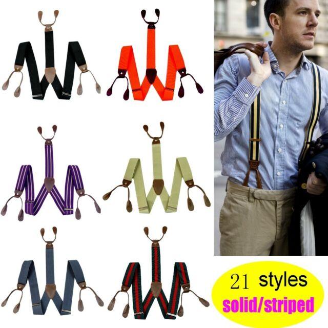 3.5cm Width Mens Suspenders Braces Solid Adjustable 6 Button Hole Leather BD7H
