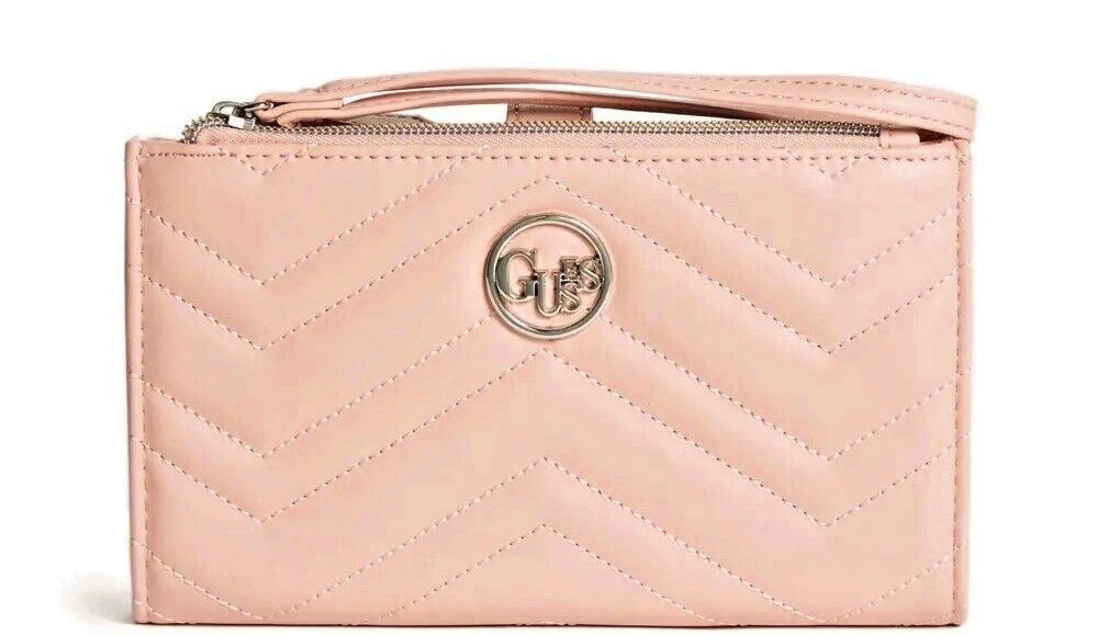 NEW GUESS Women's Blush Pink Quilted Double Zip Wristlet Wallet Phone Clutch Bag