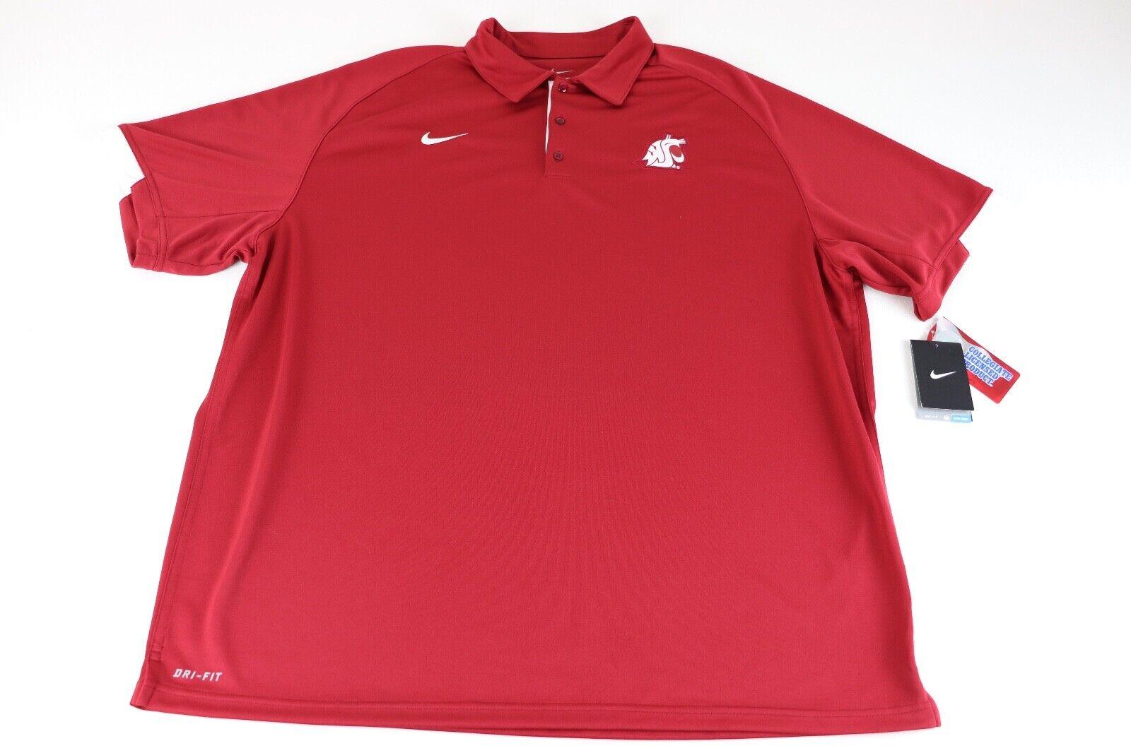NWT NIKE Washington State University Cougars Dri-Fit Crimson Men's Polo Sz. XXL
