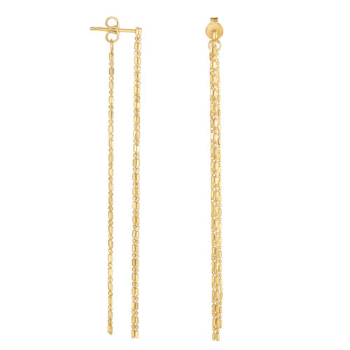 14K Yellow Gold Diamond Cut Bead Chain Front And Back Style Drop Earrings