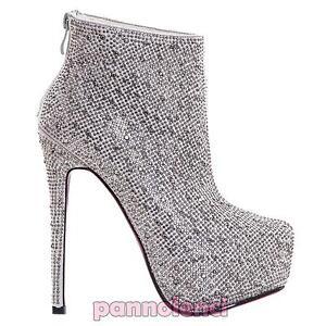 Nuevo Alto Strass Mujer Tacón Botines A933 Botas Bajos Zapatos 1 De n8H0wqg