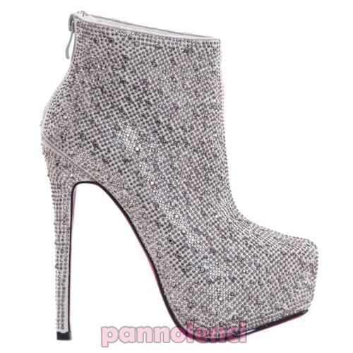 Tacón Mujer Nuevo Botines Zapatos De Botas Alto 1 A933 Strass Bajos wTq5YqxF