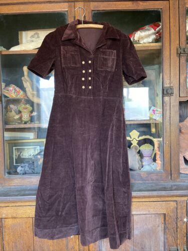 Vintage Womens 1930's 40's Dress Corduroy Brown H… - image 1