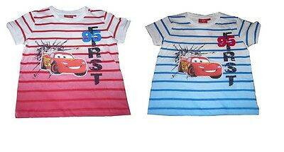 Boys T-Shirt Tops Official Disney Cars Mcqueen 2-8 Years Old