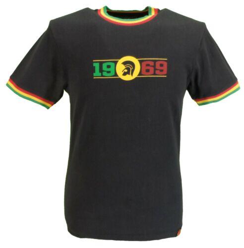 Trojan Records Homme Noir//Or//logo vert 1969 100/% Coton Pêche T-Shirt